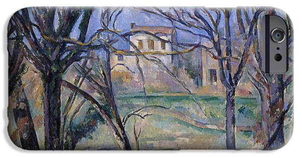 Midi iPhone Cases - Trees And Houses, 1885-86 Oil On Canvas See Also 287556 iPhone Case by Paul Cezanne
