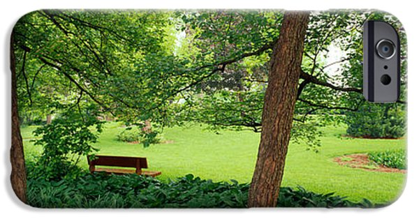 Absence iPhone Cases - Trees In A Park, Adams Park, Wheaton iPhone Case by Panoramic Images