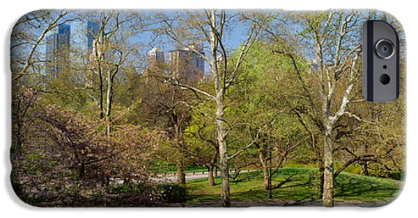 Built Structure iPhone Cases - Trees In A Park, Central Park West iPhone Case by Panoramic Images