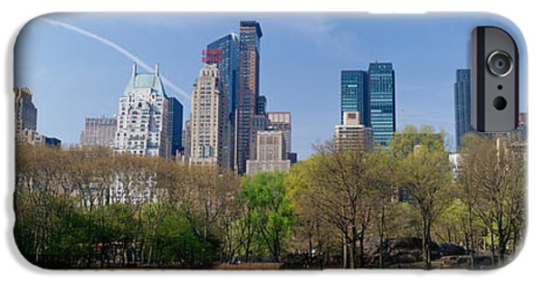 Built Structure iPhone Cases - Trees In A Park With Buildings iPhone Case by Panoramic Images