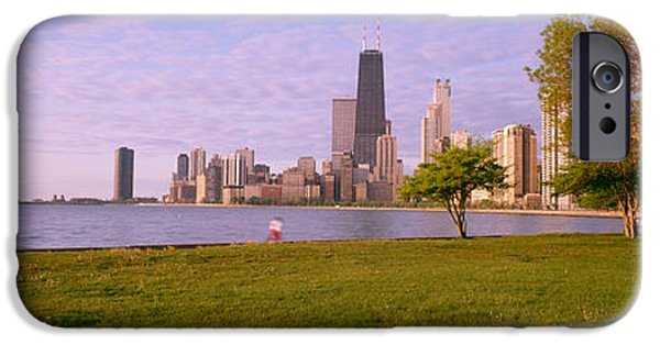 Lincoln iPhone Cases - Trees In A Park With Lake And Buildings iPhone Case by Panoramic Images