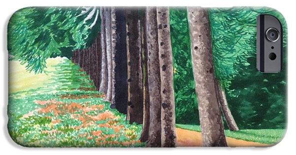 Pathway Drawings iPhone Cases - Trees in Alignment iPhone Case by Rosanne Bartlett