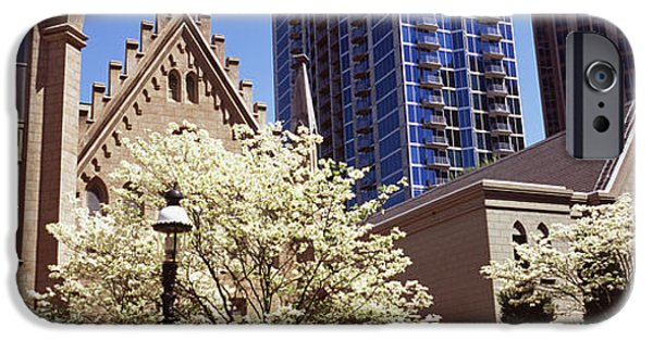 Charlotte iPhone Cases - Trees In Front Of A Building iPhone Case by Panoramic Images