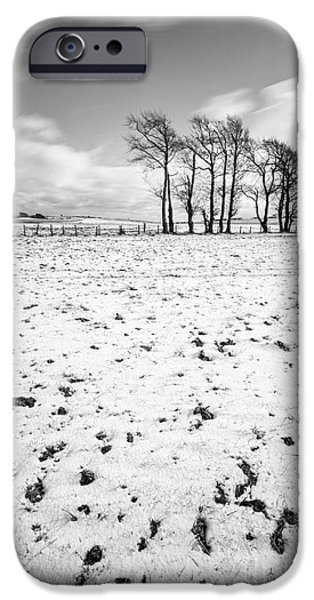 Trees In Snow iPhone Cases - Trees in snow Scotland iii iPhone Case by John Farnan