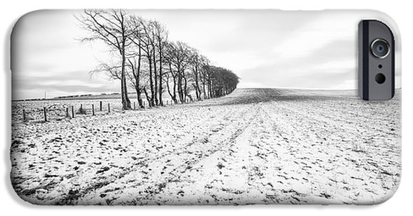Trees In Snow iPhone Cases - Trees in snow Scotland v iPhone Case by John Farnan