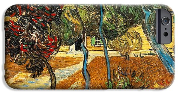 Arles iPhone Cases - Trees in the Asylum Gardens iPhone Case by Vincent Van Gogh