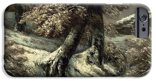 Snowy Night Paintings iPhone Cases - Trees in the Snow iPhone Case by Gustave Courbet