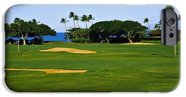 Hawaii Islands iPhone Cases - Trees On A Golf Course,kaanapali Golf iPhone Case by Panoramic Images