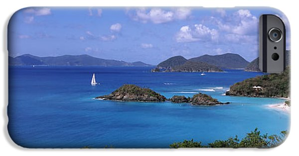 West Indies iPhone Cases - Trees On The Coast, Trunk Bay, Virgin iPhone Case by Panoramic Images
