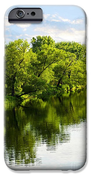 Reflecting Trees iPhone Cases - Trees reflecting in river iPhone Case by Elena Elisseeva