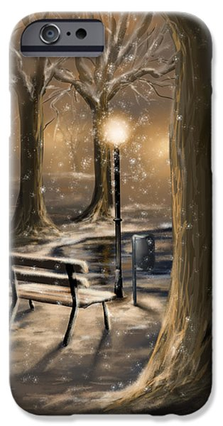 Snowy Night iPhone Cases - Trees iPhone Case by Veronica Minozzi