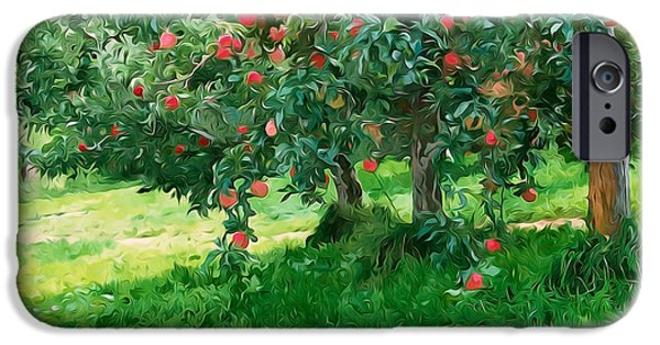Green Day Paintings iPhone Cases - Trees with red apples in an orchard iPhone Case by Lanjee Chee