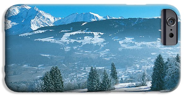 Snow Scene iPhone Cases - Trees With Snow Covered Mountains iPhone Case by Panoramic Images