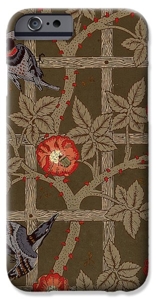Food And Beverage Tapestries - Textiles iPhone Cases - Trellis with Birds iPhone Case by William Morris