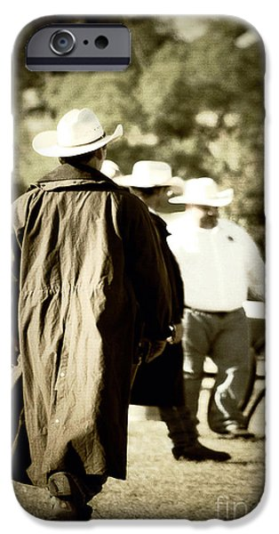 Old Fence Posts iPhone Cases - Trenchcoat Cowboy iPhone Case by Trish Mistric