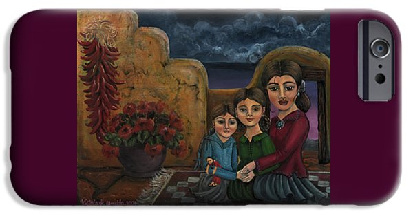 Sisters Paintings iPhone Cases - Tres Mujeres Three Women iPhone Case by Victoria De Almeida