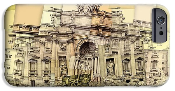 Coins Mixed Media iPhone Cases - Trevi Fountain Cubism iPhone Case by Dan Sproul