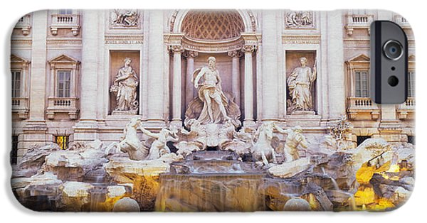Good Luck iPhone Cases - Trevi Fountain Rome Italy iPhone Case by Panoramic Images