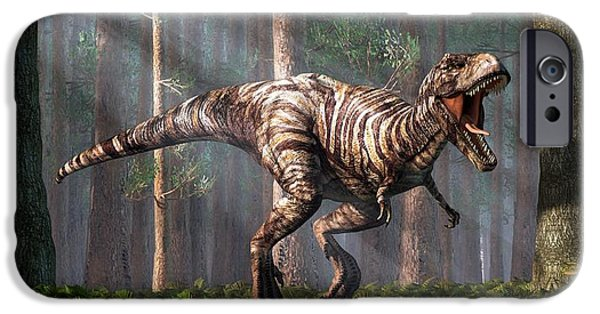 Triassic iPhone Cases - TRex in the Forest iPhone Case by Daniel Eskridge