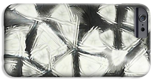 Abstract Collage Drawings iPhone Cases - Triangles iPhone Case by Victoria Fischer
