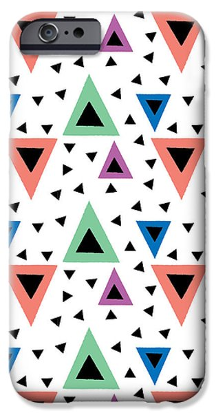 Graphic Design iPhone Cases - Triangular Dance Repeat Print iPhone Case by Susan Claire