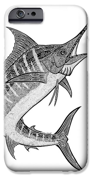 Sports Fish iPhone Cases - Tribal Marlin III iPhone Case by Carol Lynne
