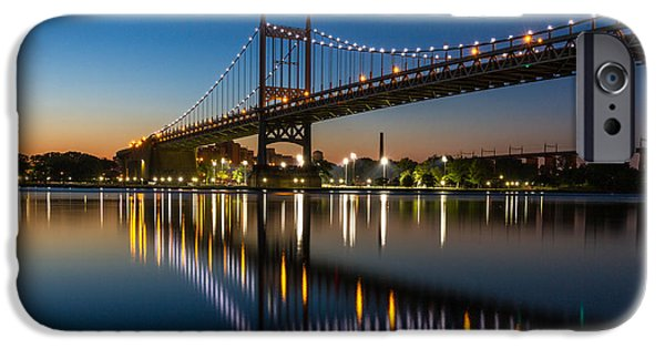 City Scape iPhone Cases - triboro Bridge NY at blue hour iPhone Case by Paul Tomlin