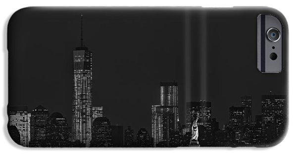 Freedom iPhone Cases - Tribute In Lights 2013 BW iPhone Case by Susan Candelario