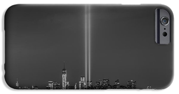 Twin Towers Nyc iPhone Cases - Tribute Lights BW iPhone Case by Michael Ver Sprill