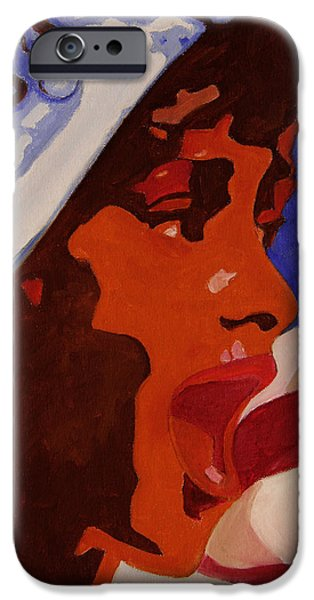 Star Spangled Banner Paintings iPhone Cases - Tribute to Whitney Houston iPhone Case by Xueling Zou