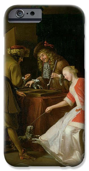 Board iPhone Cases - Tric-trac Players With A Lady And Her Dog Oil On Canvas iPhone Case by Jacob Ochtervelt
