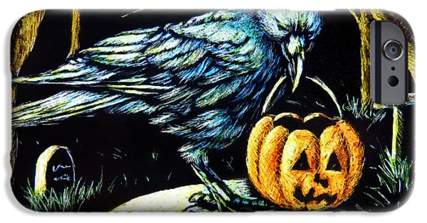 Headstones Drawings iPhone Cases - Trick or Treat Crow iPhone Case by Monique Morin Matson