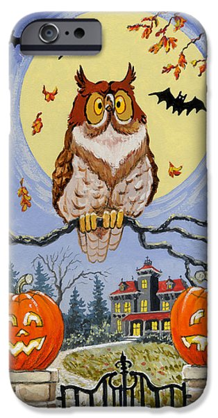 Haunted House Paintings iPhone Cases - Trick or Treat Street iPhone Case by Richard De Wolfe