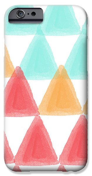 Shape Mixed Media iPhone Cases - Trifold- colorful abstract pattern painting iPhone Case by Linda Woods