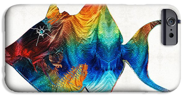 North Sea Paintings iPhone Cases - Trigger Happy Fish Art by Sharon Cummings iPhone Case by Sharon Cummings