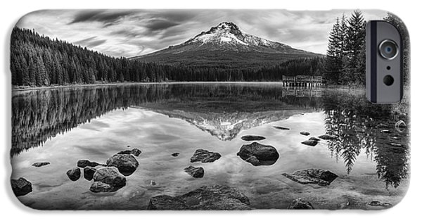 October iPhone Cases - Trillium Lake Black and White iPhone Case by Mark Kiver