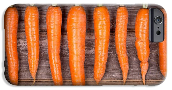 Agriculture iPhone Cases - Trimmed carrots in a row iPhone Case by Jane Rix