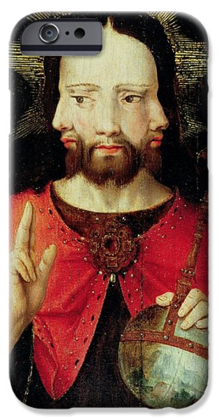 Jesus Photographs iPhone Cases - Trinitarian Christ, C.1500 Oil On Panel iPhone Case by Flemish School