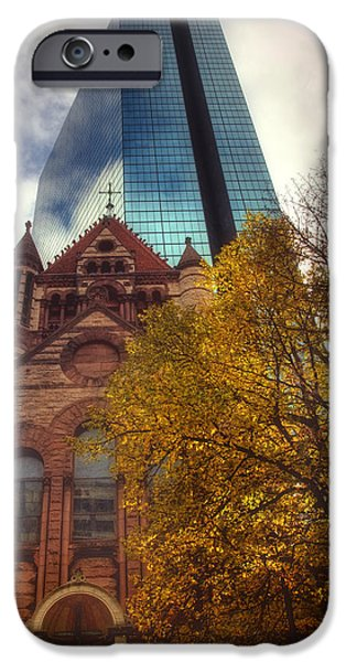 Massachusetts Autumn Scenes iPhone Cases - Trinity and The Hancock iPhone Case by Joann Vitali