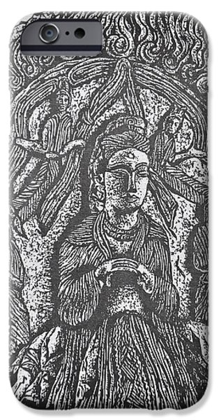 Religious Drawings iPhone Cases - Trinity of Taoist Figures Northern Wei Dynasty iPhone Case by Larry Butterworth