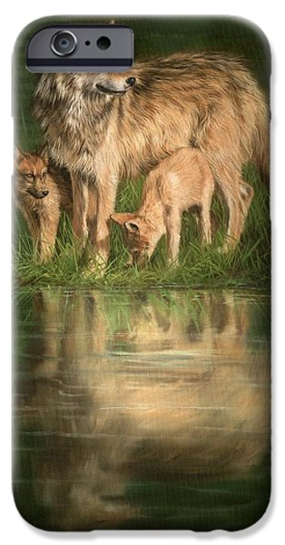 Young Paintings iPhone Cases - Trio of Wolves iPhone Case by David Stribbling