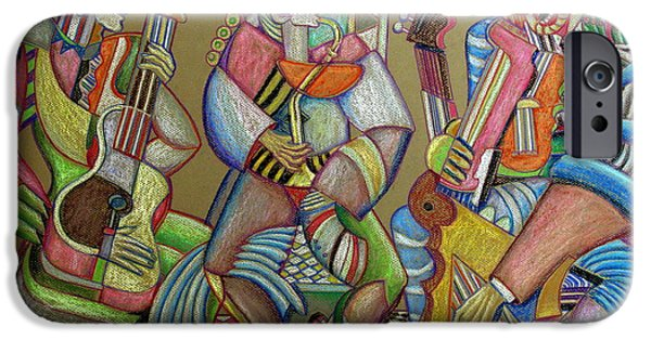 Piano Pastels iPhone Cases - Trio to the throne iPhone Case by Anatoliy Sivkov