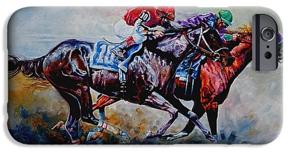 Horse Racing iPhone Cases - The Preakness Stakes iPhone Case by Hanne Lore Koehler