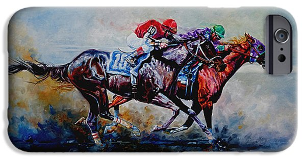 Horse Sport iPhone Cases - The Preakness Stakes iPhone Case by Hanne Lore Koehler