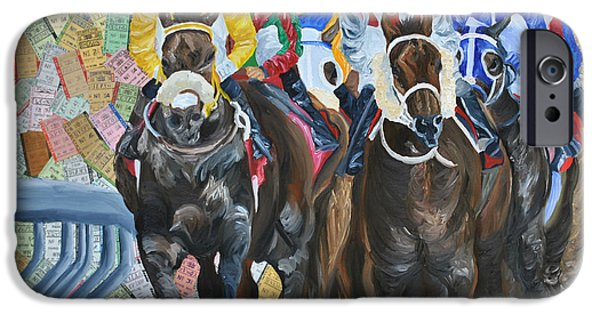 Horse Racing Mixed Media iPhone Cases - Triple Crown iPhone Case by Michael Lee