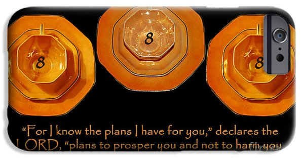 Manifestations iPhone Cases - Triple Eight Octagon Saucers with Jeremiah Twenty Nine Eleven on Black iPhone Case by Heather Kirk