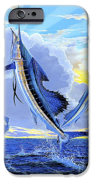 Sailfish Paintings iPhone Cases - Triple Header Off0097 iPhone Case by Carey Chen