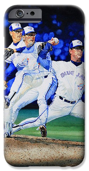 Baseball Art iPhone Cases - Triple Play iPhone Case by Hanne Lore Koehler