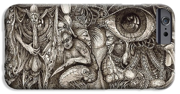 Surrealism Drawings iPhone Cases - Tripping Through Bogomils Mind iPhone Case by Otto Rapp