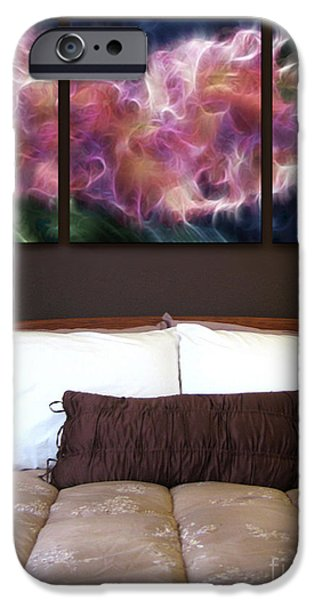 Abstract Digital Paintings iPhone Cases - Triptych Display Sample 01 iPhone Case by Peter Piatt